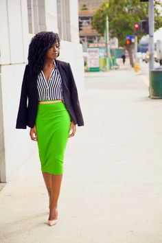 In love with this black and white striped to and lime green pencil ...
