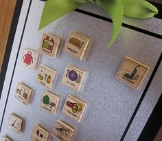 Use the backside of extra scrabble tiles, to draw images for chores to do, cover images and tiles with Mod Podge or other sealant. Put magnetic strip on other side to stick on chore chart board.