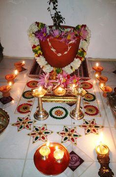 Mandir Decoration, Ganapati Decoration, Ribbon Decorations, Birthday Decorations, Tulsi Vivah, Silver Lamp, Pooja Room Design, Artist Wall, Ethnic Home Decor