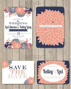 Navy Coral Salmon Pink Wedding Invitation #weddinginvite invite - SohoSonnet Creative Living
