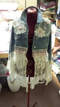Denim and Doilies! An upcycled Jean jacket with lots of pretties and lace!