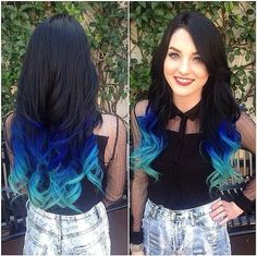 Mermaid ombre colorful indian remy clip in hair extensions。 #ombre hair #hair extensions #women fashion
