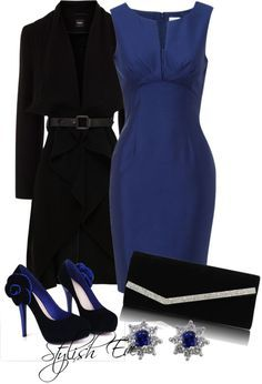 """Blue Dress Outfit !"" by stylisheve on Polyvore. Nice business dress. Not keen on those shoes. To me, platforms look like you strapped a piece of wood to your foot."