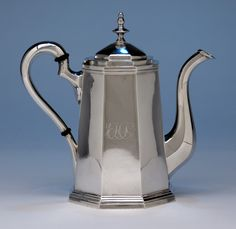 Obadiah Rich (attr.) Sterling Silver Coffee Pot retailed by Lows, Ball & Co., Boston, 1840-41