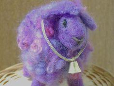 purple handmade wool sheep needle felted animal by RAINBOWFIBRES, $25.00