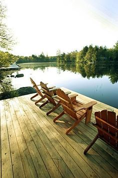 Chairs on a dock with the PERFECT view.  I need a lake house! Come to my house - it's not a lake but a large pond!  Lot's of Bass!