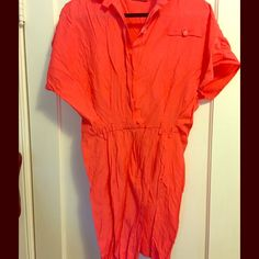 Bright coral vintage dress Fun vintage dress! Tight skirt with a big top. Belt loops, great condition, button up top & zipper skirt in front. *Missing one button (that is hidden under a flap when buttoned)* SO CUTE, just a little too big! Vintage Dresses Midi