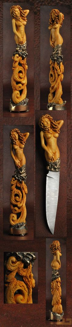 Gerdil Лоран - Скульптура - Человек Нож скульптура.  Клинок Дамаск Клод Schosseler. Канал и коробка перевозчик, охранять клепки и бронзовую базу. Клинок 15 см Общая высота скульптуры 35 см