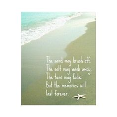 Photo of the beach with starfish, featuring beach memories quote.