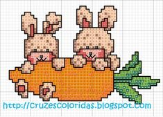 esquemas en punto de cruz gratis para imprimir Cross Stitch Boards, Cross Stitch Baby, Cross Stitch Patterns, Stitching Patterns, April Easter, Easter Cross, Hello Kitty, Bugs Bunny, Cross Stitching