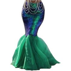 Womens Sexy Mermaid Halloween Costume Fancy Party Sequins Maxi Dress... ($82) ❤ liked on Polyvore featuring costumes, women's halloween costumes, green lantern womens costume, sexy ladies halloween costumes, lady halloween costumes and party costumes