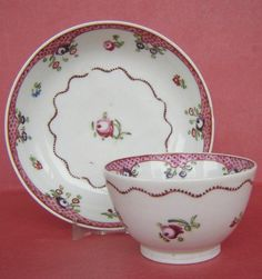 New Hall Porcelain Teabowl and Saucer Pattern 173 c1800