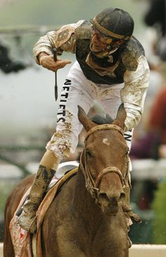 Jockey Calvin Borel and Mine That Bird winning the 135th running of the Kentucky Derby in 2009.