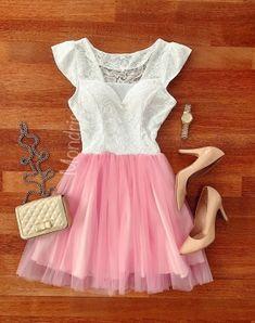 Rochie de ocazie ieftina scurta alb si roz din tul si dantela - Rochii - Rochii banchet Two Piece Skirt Set, Formal Dresses, Skirts, Fashion, Dresses For Formal, Moda, Formal Gowns, Fashion Styles, Skirt