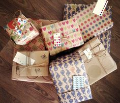 Patterned Wrapping Paper and Gift Tags.