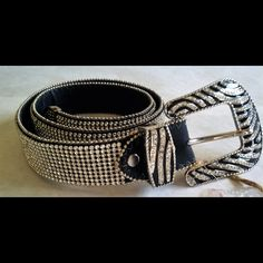 Fully Rhinestone Belt with Zebra Print Buckle This belt is simply gorgeous! Full Multi-Row Rhinestones across entire belt. Zebra print buckle and belt tip has rhinestone accents. Nice... Atlas Belts  Accessories Belts