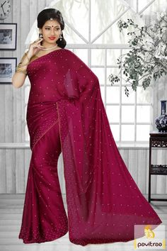 Shop for handmade indian sarees online! Order this chiffon satin patch border work designer saree for festival and party. Satin Saree, Silk Cotton Sarees, Art Silk Sarees, Chiffon Saree, Fancy Sarees, Party Wear Sarees, Indian Beauty Saree, Indian Sarees, Sarees Online India