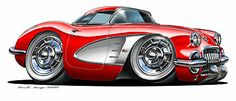 6 1958 – 1962 Chevrolet Chevy Corvette classic sports car cartoon Wall Sticker D… - モーターの世界 Cool Sports Cars, Classic Sports Cars, Sport Cars, Cool Cars, Classic Cars, Vintage Mode, Vintage Cars, Arte Pink Floyd, Rockabilly Vintage
