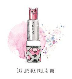 Cat lipstick Paul & Joe - Illustration by Armelle Tissier