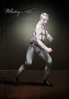 Whitey Aller, albino bareknuckle boxer. Drawn by Viktor Toth.