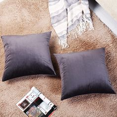 Amazon: Set of 2 Solid-Color Velvet Decorative Squ... Cushion Covers, Throw Pillow Covers, Throw Pillows, Amazon Subscribe And Save, Grocery Items, Velvet Pillows, Cushions, Living Room, Bed