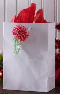 Pompom Gift Trim Free Craft Pattern from Aunt Lydia's Crochet Thread
