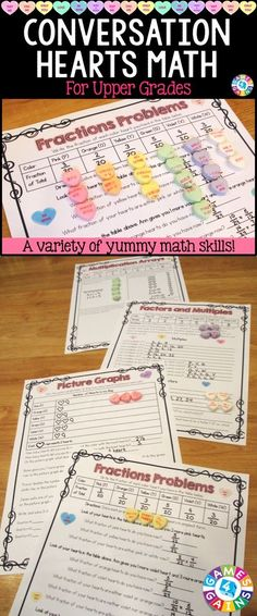 This Valentine's Day Math Conversation Hearts Project contains 17 pages of printable math activities to use with some yummy conversation hearts! Get ready for your students to have tons of fun practicing a variety of math skills! These work perfectly for small groups, centers, informal assessments, review, etc. Ideal for grades 4-6.