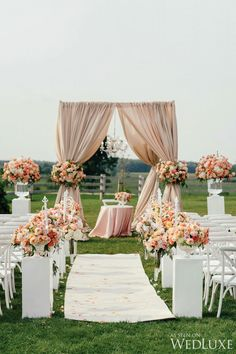 12 Gorgeous Wedding Ceremony Decor Ideas Belle The Magazine is part of Wedding ceremony decorations outdoor - These gorgeous wedding ceremony decor ideas will knock your socks off Pick your favorite and get some inspiration for your own wedding Outdoor Wedding Decorations, Wedding Themes, Wedding Venues, Wedding Ideas, Outdoor Weddings, Wedding Reception, Peach Wedding Theme, Wedding Photos, Wedding Aisles