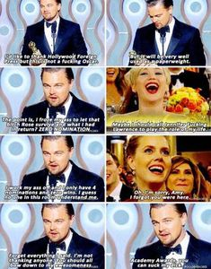 Legendary Leo's speech at the Golden Globe Awards... oh man. Hahahahaha