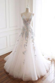 White v neck tulle lace long prom dress, white evening dress - Prom Dresses Design Pretty Dresses, Sexy Dresses, Beautiful Dresses, Formal Dresses, Formal Prom, White Prom Dresses, White Evening Dresses, Grad Dresses Long, Graduation Dresses