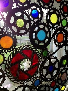 Stained Glass Bicycle Wheel - Recycled Custom Stained Glass, Making Stained Glass, Stained Glass Windows, Stained Glass Projects, Bicycle Wheel, Bicycle Art, Fused Glass Art, Window Panels, Glass Artwork