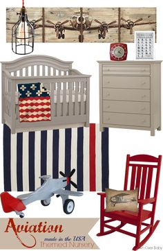"In The USA"" Themed Nursery Designs Featuring Munire Furniture & Baby Cache: Hosted By Project Nursery ""Aviation"" - made in the USA Themed Nursery ""Aviation"" - made in the USA Themed Nursery Baby Nursery Themes, Baby Boy Rooms, Baby Boy Nurseries, Baby Decor, Nursery Room, Baby Room, Nursery Decor, Themed Nursery, Country Boy Nurseries"