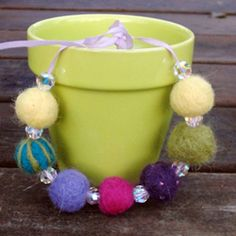 Learn how to needle felt and wet felt - then choose your favorite method to make this cute bracelet.