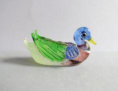 Miniature Mandarin Duck Art Glass Blown Wild Animal Figurine Decorative Handmade