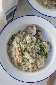 This mushroom and pea risotto makes the most of fresh spring produce. A gorgeous, light meat-free risotto made with dry white wine, fresh mushroom, spring peas, tied together with some zesty lemon juice. This dish is perfect for date night, weekend entertaining or as an easy weeknight meal.#springrisotto #risotto #pearisotto #mushroomrisotto