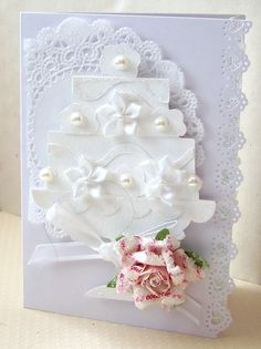 Wedding Cake Card - Scrapbook.com - #scrapbooking #cardmaking #wedding #marthastewartcrafts #provocraft #zvacreative