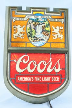 Vintage Coors Light Lighted Mirror Sign Works Coors