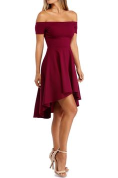Fashion Onlinechoic Burgundy Off Shoulder High Low Cocktail Skater Dress - Outfit Trends Hoco Dresses, Dresses For Teens, Dance Dresses, Homecoming Dresses, Short Sleeve Dresses, Dresses For Work, Sexy Dresses, Wedding Dresses, Dresses For Parties