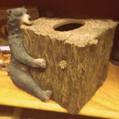This little guy is the perfect touch to the rustic themed bathroom!