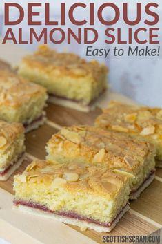 Tray Bake Recipes, Tart Recipes, Easy Cake Recipes, Baking Recipes, Dessert Recipes, Bakewell Traybake, Bakewell Tart, Scottish Desserts, Scottish Recipes