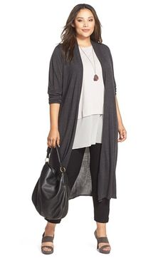 Plus Size Ultrafine Merino Long Open Front Cardigan