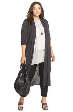 Plus Size Ultrafine Merino Long Open Front Cardigan