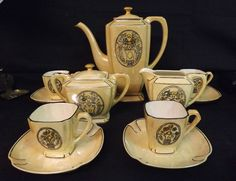 "1922 Hand Decorated Lustre 11 Piece Art Deco Tea Set. Signed ""A. Swick 1922""  | eBay"
