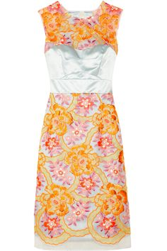 Innes neon embroidered organza and silk-satin dress | THE OUTNET