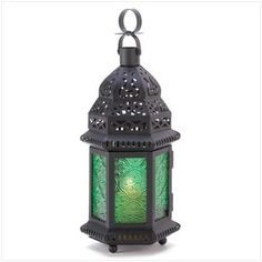Emerald Green Glass Moroccan Lantern  20th Anniversary Color: Emerald Green