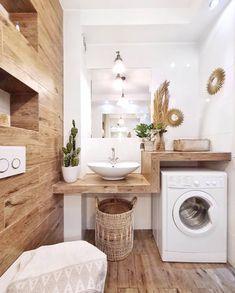 # Bathroom vinyl decor # Bathroom decor ideas small # Bathroom decor and tiles will be … – rustic home interior Laundry Room Design, Laundry In Bathroom, Small Bathroom, Bathroom Shelves, Bathroom Ideas, Wooden Bathroom, Bathroom Vinyl, Laundry Rooms, Bathroom Storage