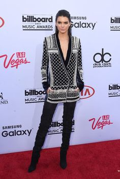 Kendall Jenner gives us a sneak peek of the new Balmain x H&M collaboration at the 2015 Billboard Music Awards