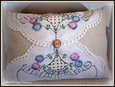 Pillow made with Vintage Doilies! Such a pretty way to use Grandma's doilies