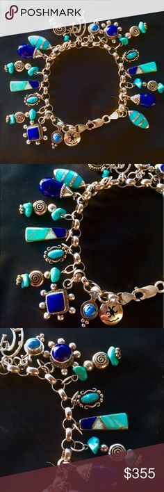 """💙Navajo Turquoise Lapis Sterling Charm Bracelet💙 Vintage Navajo Native American Turquoise Lapis Opal Sterling Silver Charm Bracelet. 19 vintage charms altogether. 14 charms are stamped sterling. 5 charms are unmarked but tested as sterling. Many are hallmarked by the silversmith. The charms range in size from .5"""" to 1"""". The bracelet is vintage sterling and is stamped """".925"""" & """"Italy"""". It measures 7.5"""" in length and has a lobster clasp lock. The charm bracelet weighs 43.54 g. Heirloom…"""