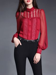 dress code clothing Picture - More Detailed Picture about Top Quality New Brand Designer Fashion 2016 Spring Summer Women Sexy Sheer Lace Gauze Patchwork Lantern Long Sleeve Blouse Shirt Picture in Blouses & Shirts from Aliglory Topfashion Store Long Blouse Outfit, Blouse Vintage, Top Vintage, Red Blouses, Corsage, Vintage Fashion, Fashion Outfits, Fashion 2016, Couture